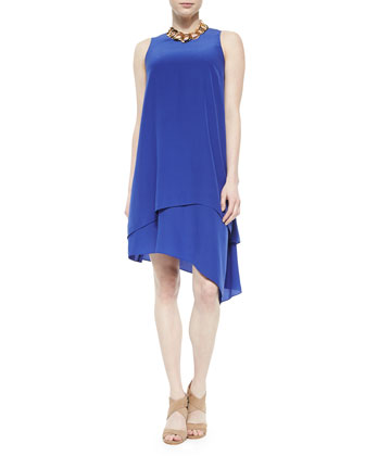 Double-Layer Silk Dress, Adriatic, Petite