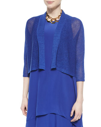 3/4-Sleeve Kimono Cardigan & Double-Layer Silk Dress, Petite