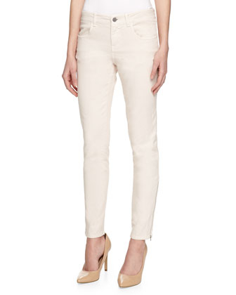 Skinny Zip Denim Trousers, Light Pink
