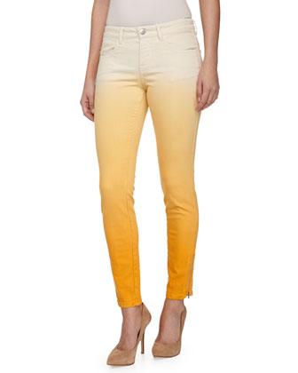 Ombre Skinny Jeans W/ Zipper Cuffs, Orange