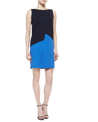 Asymmetric Colorblock Shift Dress, Ink/Riviera