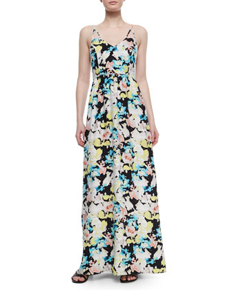 Kisa Floral-Print Silk Maxi Dress