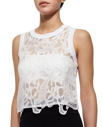 Radley Cropped Lace-Front Top, White