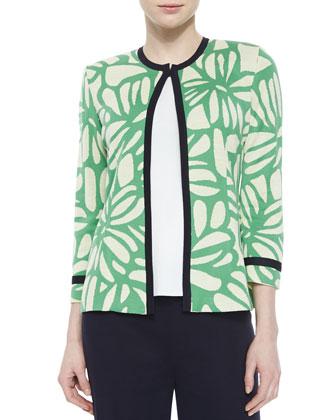Flower Petal 3/4-Sleeve Jacket, Petite