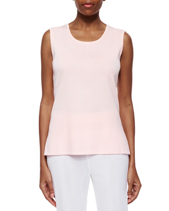 Scoop-Neck Knit Tank, Rosewater