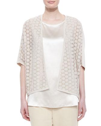 Short-Sleeve Lace Combo Cardigan