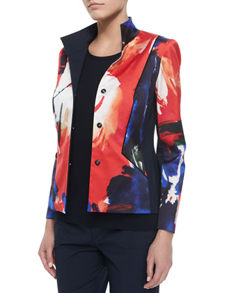 Laryn Floral-Print Jacket, Matte Crepe Shell & Cropped Fundamental ...
