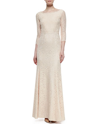Zarita Lace 3/4-Sleeve Gown