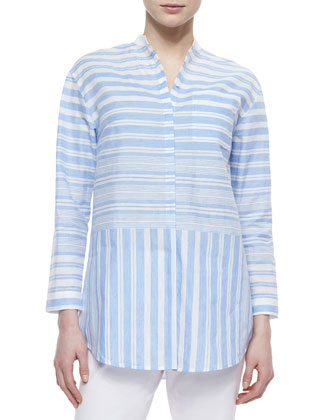 Danae Striped Linen-Blend Blouse