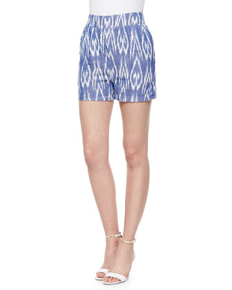 Printed High-Waist Cotton Shorts