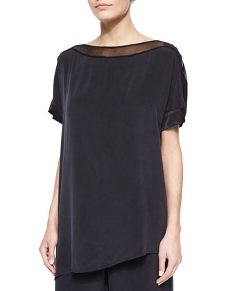 Silk Boat-Neck Easy Tunic, Black, Petite