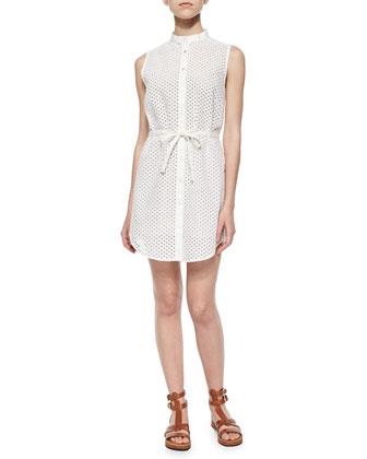 Frida Mini-Eyelet Cotton Shirtdress