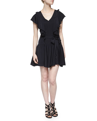Dakota Ruffle-Trim Silk Dress