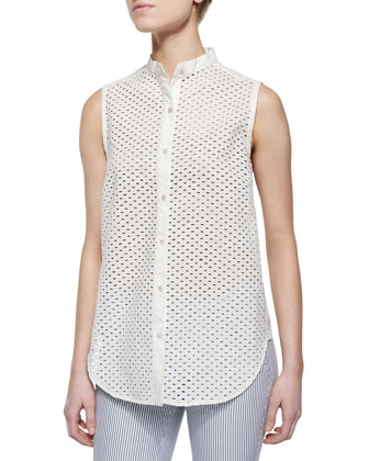 Frida Mini-Eyelet Sleeveless Blouse