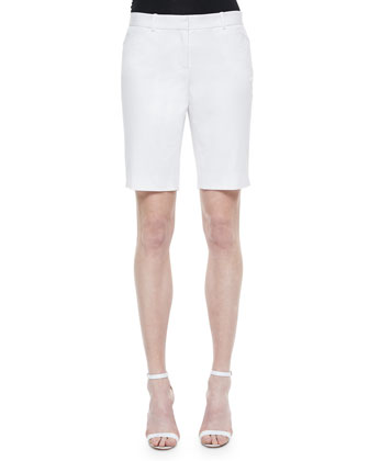 Slash-Pocket Bermuda Shorts, White