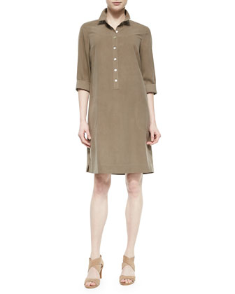 3/4-Sleeve Silk Shirtdress, Stone Edge