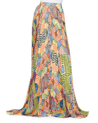 Helen Short-Sleeve Knit Cropped Sweater & Shannon Printed Pleated Maxi Skirt