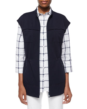 Long Jersey Zip-Front Vest, 3/4-Sleeve Grid-Striped Shirt & Curvy Slim-Leg ...