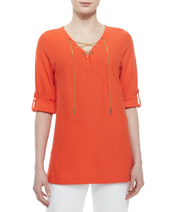 Cotton Pique Lace-Up Tunic & Slim Ponte Ankle Pants, Women's
