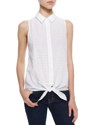 Tie-Front Perforated Poplin Top