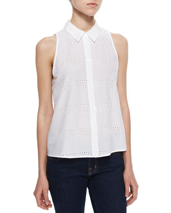 Eyelet Stripe Sleeveless Top, Bright White