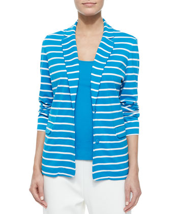 Striped Knit Jacket, Cotton Rib Tank & Ponte Slim Ankle Pants, Petite ...