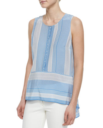 Mixed-Print Sleeveless Silk Top