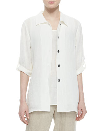 3/4-Sleeve Crinkled Linen Shirt, Women's