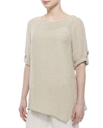Crinkled Asymmetric Linen Tunic, Petite