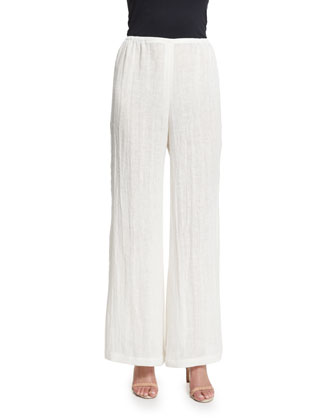 Crinkled Linen Wide-Leg Pants, Women's