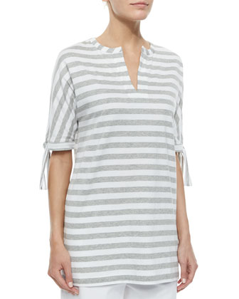 Striped Tie-Sleeve Tunic, Petite