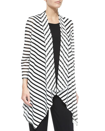 Fishnet-Stripe Apex Jacket, Stretch Knit Long Tank & Stretch-Knit Slim ...