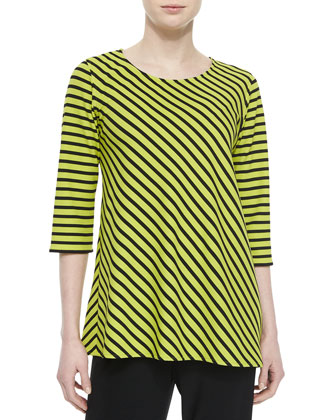3/4-Sleeve Asymmetric Striped Tunic, Petite