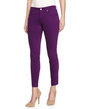 Skinny Ankle Grazer Jeans, Purple