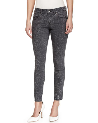 Speckled Skinny Grazer Ankle Jeans, Gray