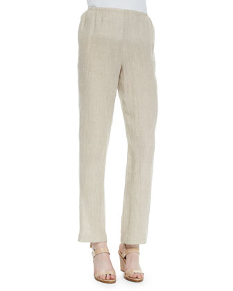Long Crinkled Linen Jacket, Tank & Straight-Leg Linen Pants, Women's