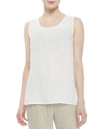 Long Crinkled Linen Tank, White, Petite
