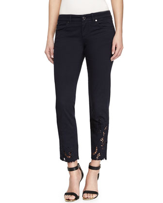 Slim-Fit Lace-Trim Denim Ankle Pants, Gray