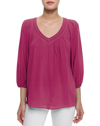 Davi Embroidered Pleated Silk Blouse