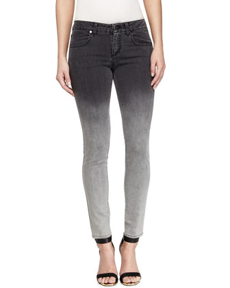 Skinny Ombre Denim Ankle Pants, Gray