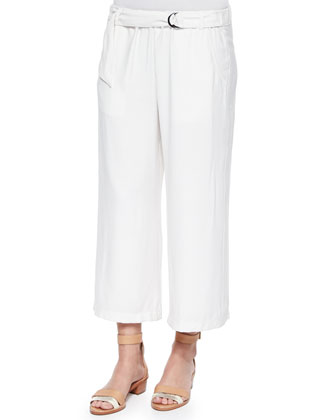 Candice Tab-Waist Straight-Leg Pants
