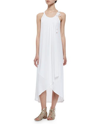 Bella Faux-Wrap Dress, Cream