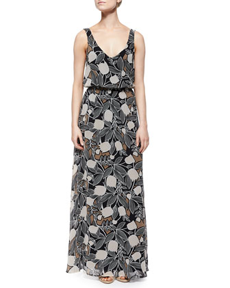 Blossom Floral-Print Maxi Dress, Black