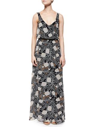 Blossom Floral-Print Maxi Dress, Black
