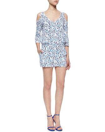Edie Cold-Shoulder Chevron Short Jumpsuit, Azul