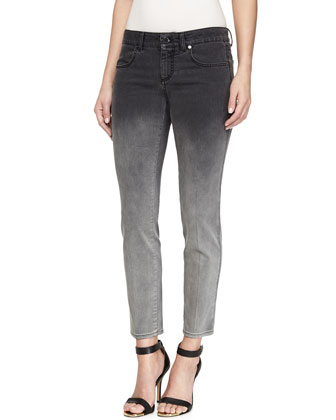 Straight-Leg Ombre Grazer Denim Jeans, Black