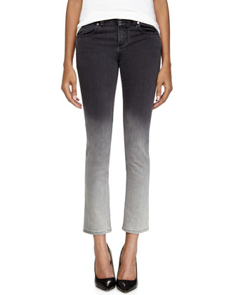 Ombre Skinny Denim Grazer Ankle Jeans, Gray