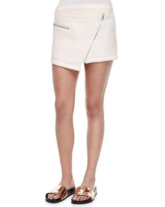 Quilted Asymmetric Miniskirt