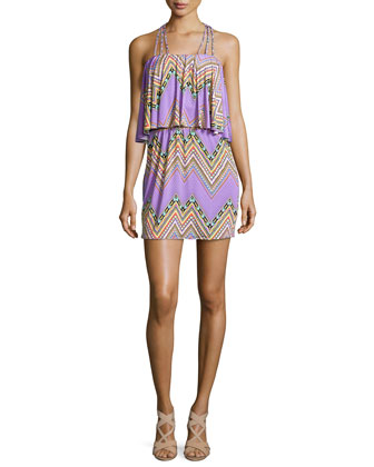 Zigzag-Print Halter Dress, Purple