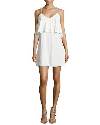 Sleeveless Ruffle Dress, White